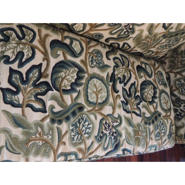 Crewel-Work Green and Yellow Camel Back Upholstered Settee From Century Furniture For Sale - Image 12 of 13