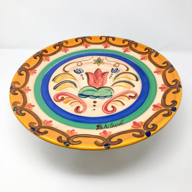 """Americana Vicki Carroll """"Sil Vous Plait"""" Footed Cake Plate For Sale - Image 3 of 13"""
