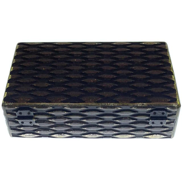 French Art Deco herringbone celluloid box, with translucent, black and copper colored bakelite /celluloid in a variation...