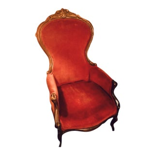 Red Velvet Seating Chair For Sale