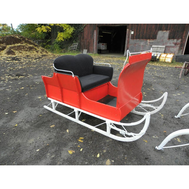 Equestrian Antique Restored Red Holiday Sleigh Sled - Image 2 of 11