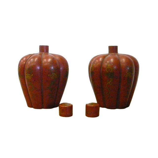 Chinese Red Orange Lacquer Lidded Containers -Pair - Image 3 of 6