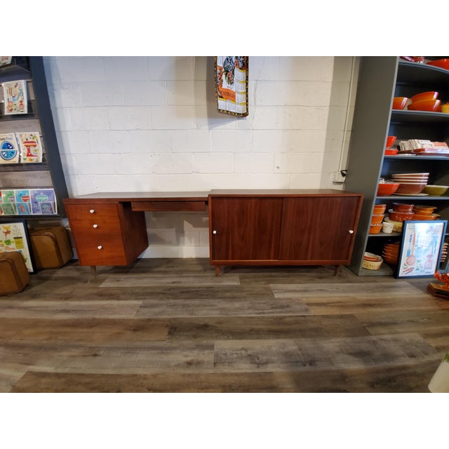 Stunning walnut desk and credenza set - they must be together, the desk attaches to the credenza. Recently refinished to...