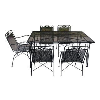 Woodard Wrought Iron Outdoor Dining Set-Set of 5 For Sale