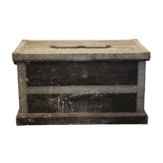 20th Century Rustic Riveted Trunk For Sale
