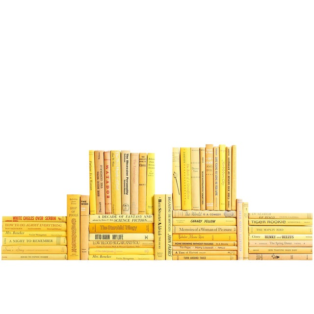Midcentury Yellow Book Wall - Set of Fifty Yellow Decorative Books For Sale