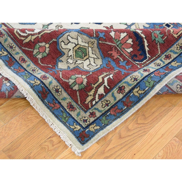 Textile Hand-Knotted Wool Serapi Heriz Tribal Design Rug- 9′ × 11′9″ For Sale - Image 7 of 13