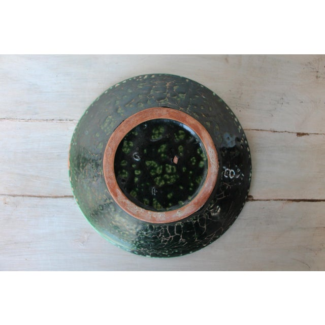 Ceramic Vintage French Glazed Earthenware, Studio Pottery Low Bowl For Sale - Image 7 of 9