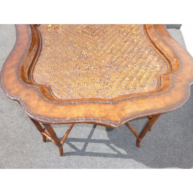 Maitland-Smith Rattan & Leather Coffee Table - Image 7 of 11