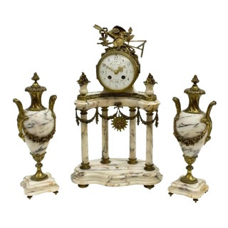 Mid 19Th Century Antique French Louis XV Portico Mantle Clock and Garniture Set - 3 Pieces For Sale