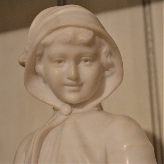 19th Century Small Marble Bust of Young Girl For Sale In Buffalo - Image 6 of 8