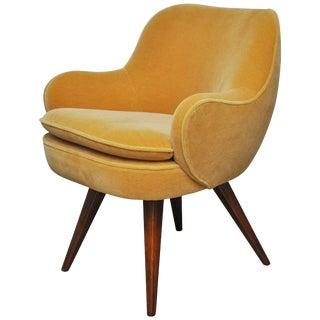 Vladimir Kagan Walnut Frame Lounge Armchair, 1950s For Sale
