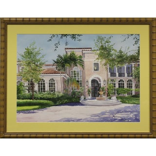"Palm Beach Villa"" 1996 Watercolor For Sale"