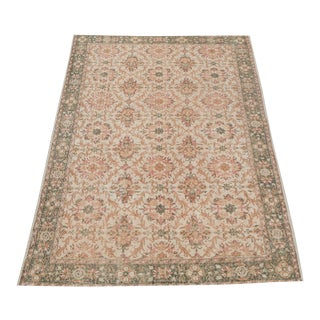 Vintage Turkish Overdyed Distressed Wool Hand Knotted Rug - 6′2″ × 9′9″ For Sale