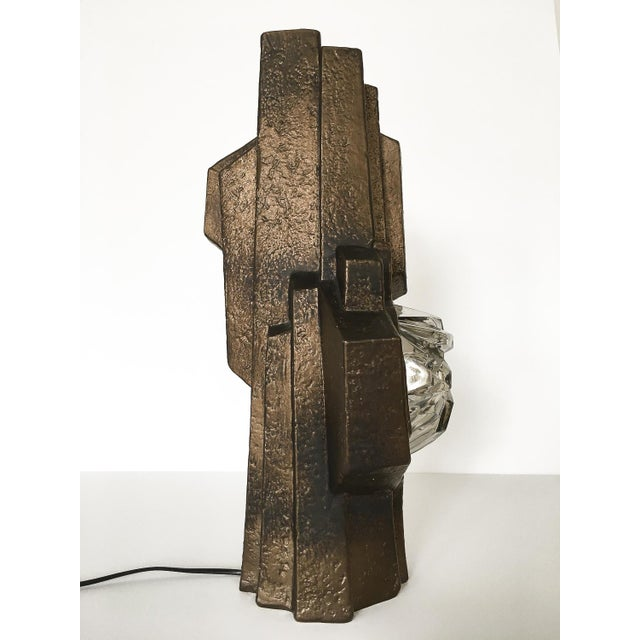 Brutalist Sculptural Rock Crystal Formation Ceramic and Glass Table Lamp For Sale In Chicago - Image 6 of 13