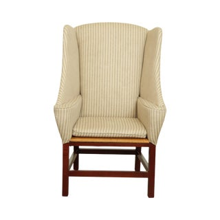 Chippendale Style Unusual Rush Seat Wing Chair For Sale