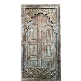 Antique Indian Jharokha Natural Wooden Hand Carved Door For Sale