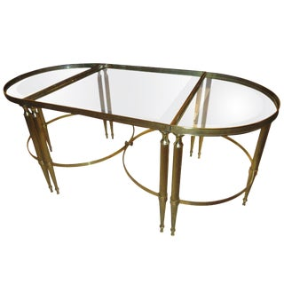 Mid 20th Century Brass Three Part Cocktail or Coffee Table For Sale