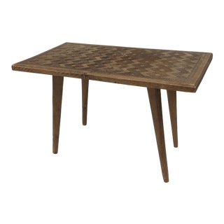 Hand Carved Mid Century Walnut Small Coffee Table For Sale