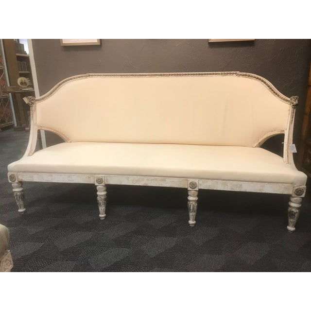 Antique Swedish White Settee For Sale - Image 6 of 10