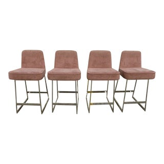 1970's Mid-Century Modern Milo Baughman Bar Stools - Set of 4 For Sale