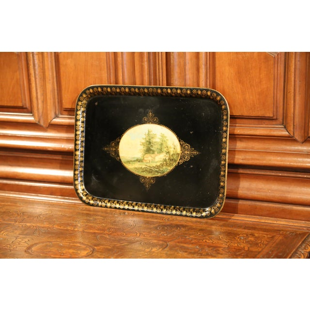 Late 19th Century 19th Century French Napoleon III Black and Gilt Tole Tray With Pastoral Scene For Sale - Image 5 of 7