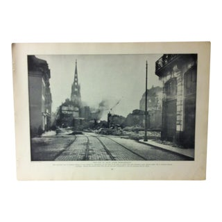 "Vintage Collier's Photographic History of the European War Print""The City of Lille After Bombardment"" 1915 For Sale"