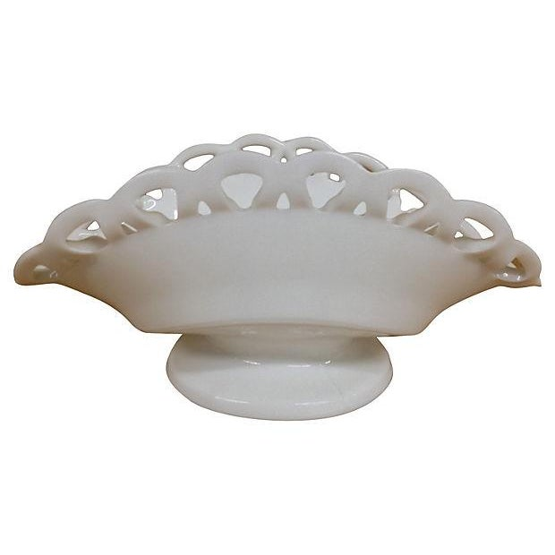 Open Lace Folded Milk Glass Dish - Image 2 of 5