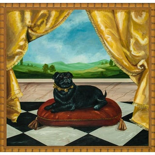 """Pampered Pug"" Fab Original Acrylic on Panel in Bamboo Frame For Sale"