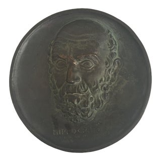 Verdigris Bronze Wall Medallion of Hippocrates For Sale