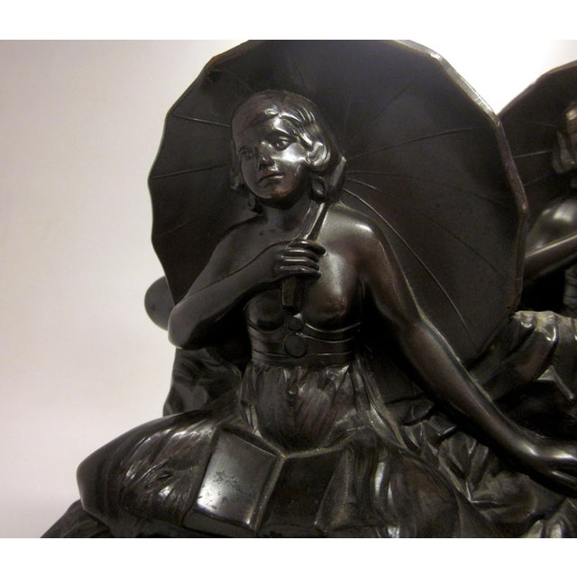 "Early 20th Century Art Nouveau/Art Deco ""Umbrella Girl"" Cast Metal Bookends - a Pair For Sale - Image 4 of 10"