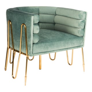 Showroom Sample Alexa Gold Barrel Chair in Green and Gold For Sale