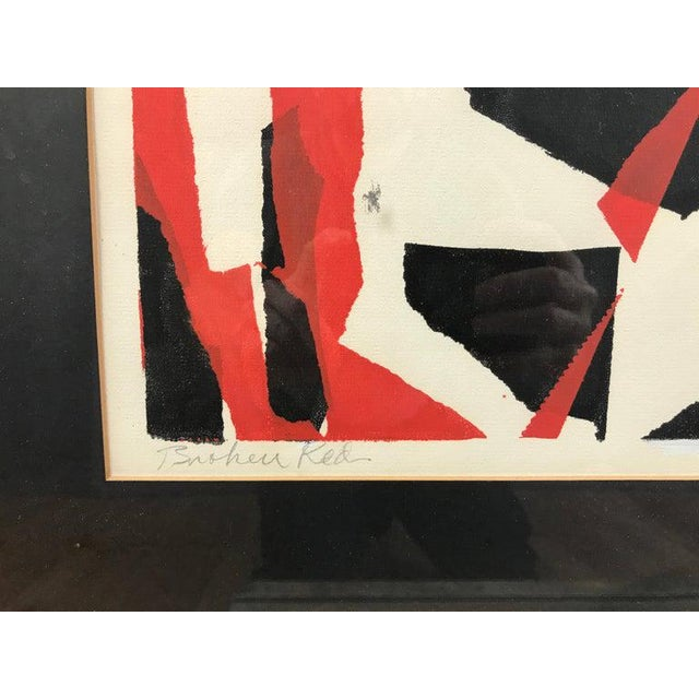 """1950s John Otterson """"Broken Red"""" Abstract Serigraph, Signed & Numbered, Early 1950s For Sale - Image 5 of 9"""