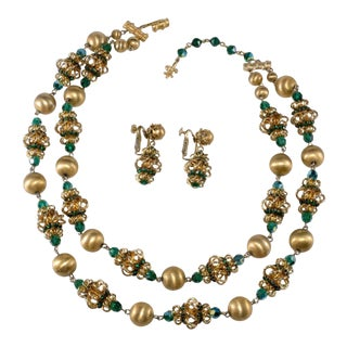 Vendome Necklace Earrings Set Emerald Green Rhinestones Brushed Gold Vintage 1960s For Sale