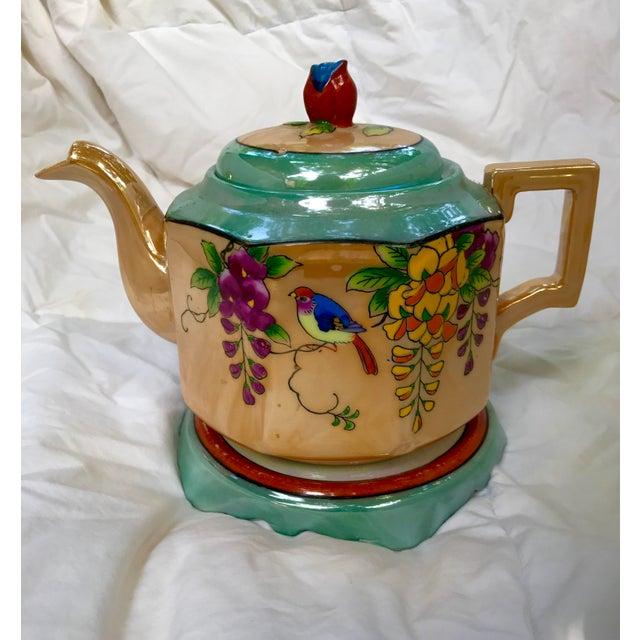 Art Deco Japanese Lustreware Teapot on Base With Bird Theme - 3 Piece Set - Image 2 of 7