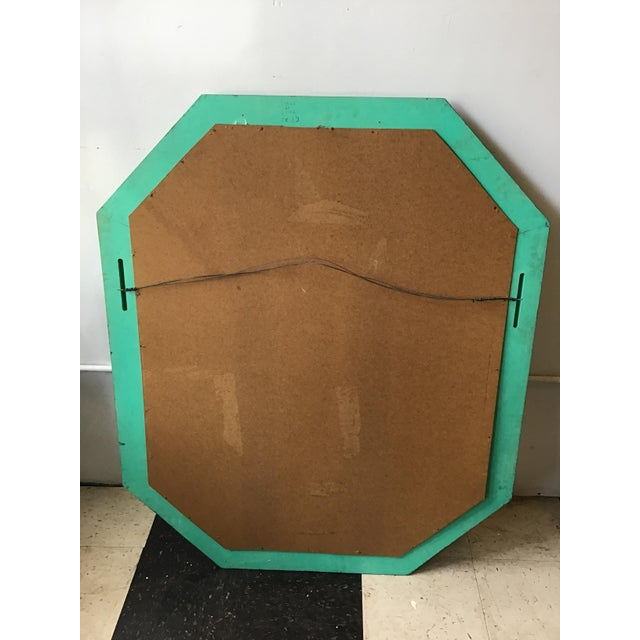 Large Pair of Italian 1970s Faux Malachite Beveled Mirrors For Sale - Image 4 of 13