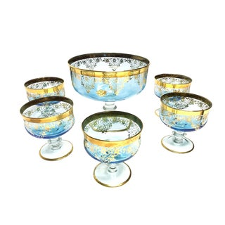 Vintage Turquoise Early Mid Century Authentic Murano Art Glass Hand Crafted 6 Piece Compote Serving Set in Pale Blue and 24k Gold, Made in Italy For Sale