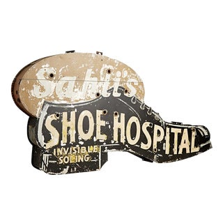 Double-sided Shoe Hospital Sign Circa 1940s
