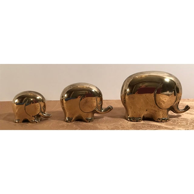 Gold Art Deco Style Brass Elephants - Set of 3 For Sale - Image 8 of 8