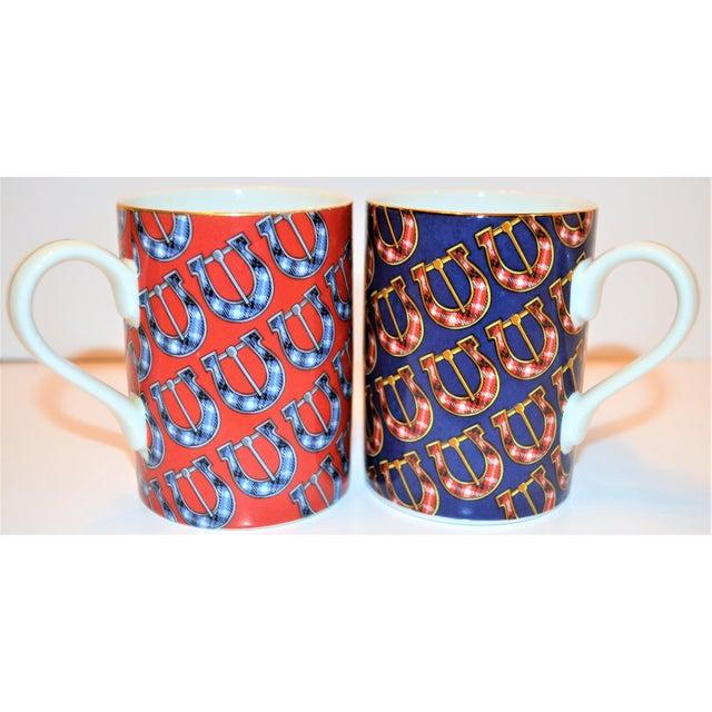 Blue Vintage Gucci Porcelain Mugs - a Pair For Sale - Image 8 of 9