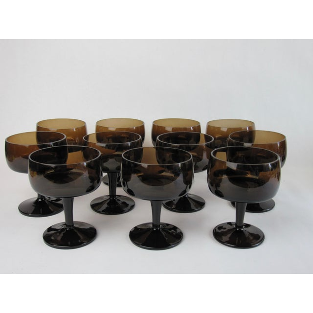 Glass Vintage Smoked Brown Coupes & Goblets - Set of 21 For Sale - Image 7 of 8