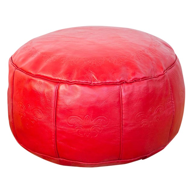 Antique Cherry Red Leather Moroccan Pouf Ottoman For Sale