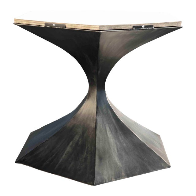 Hourglass Tulip Table Base Comes With Wood Subbase Handmade by Invictus Steelworks For Sale