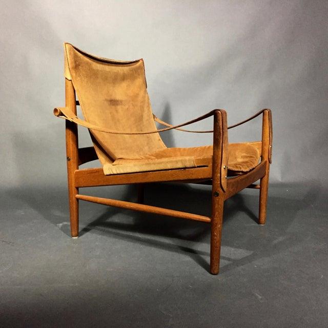 "1960s Scandinavian Modern Hans Olsen ""Antilop"" Suede and Oak Safari Chair For Sale - Image 11 of 12"