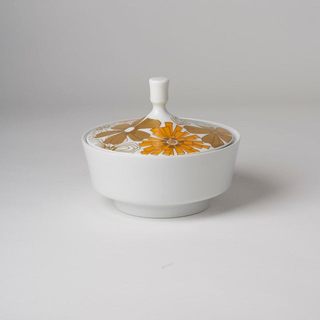 Mid Century Vintage Op Art Floral Covered Dish For Sale - Image 4 of 7