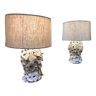 Artist Made Oyster Shell Lamps - a Pair For Sale