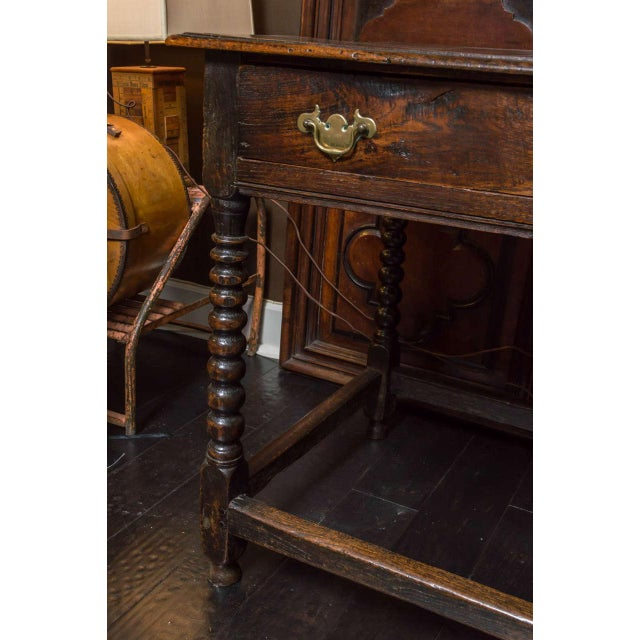 Wood 1780s English Single Drawer and Bobbin Turned Legs Oak Side Table For Sale - Image 7 of 9