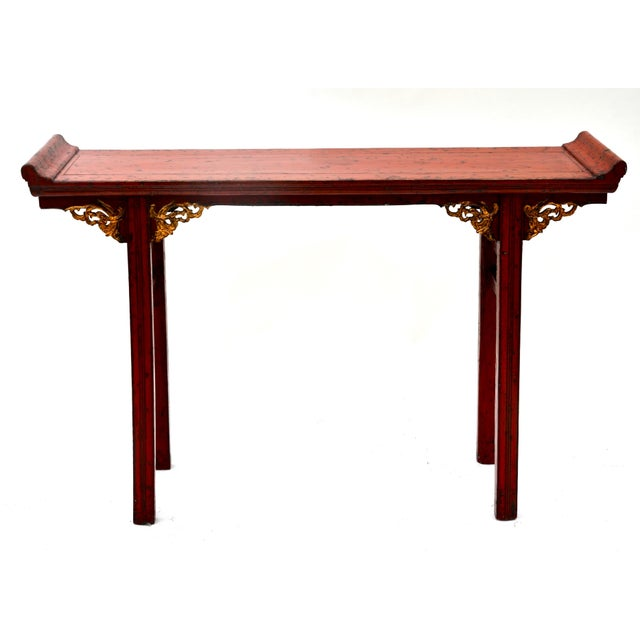Gold 19th C Chinese Red Lacquered Altar Table With Gold Detail For Sale - Image 7 of 7