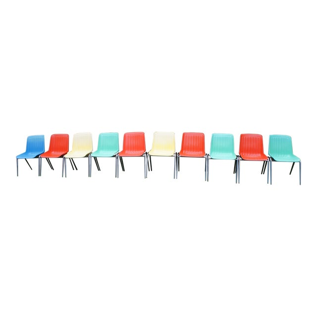 Vintage Columbia Mfg. Stacking Shell Chairs- Set of 10 For Sale