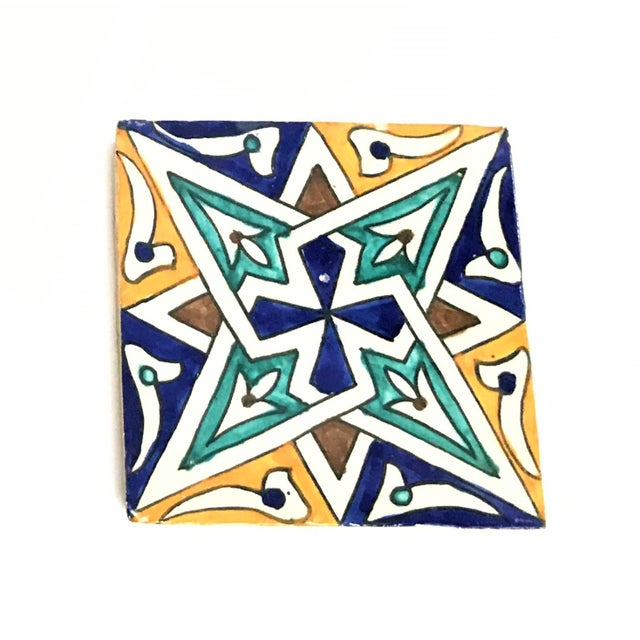 Hand Painted Moroccan Large Decorative Cement Tile - Image 2 of 2